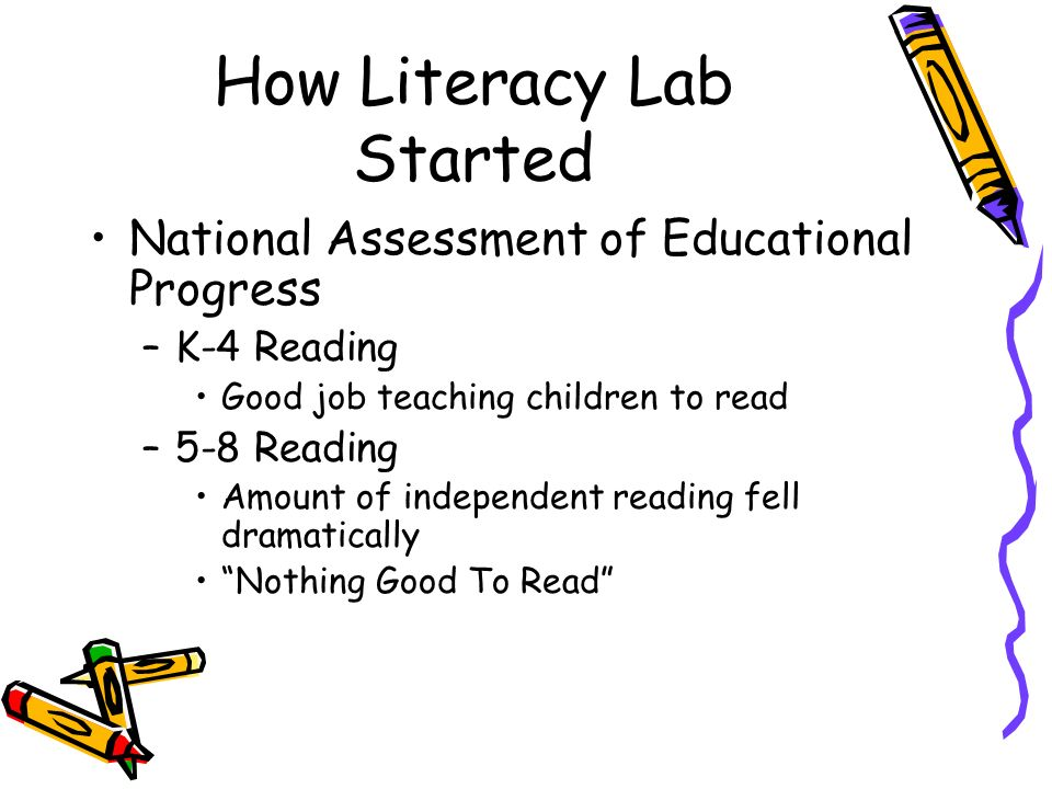 How Literacy Lab Started National Assessment of Educational Progress –K-4 Reading Good job teaching children to read –5-8 Reading Amount of independen