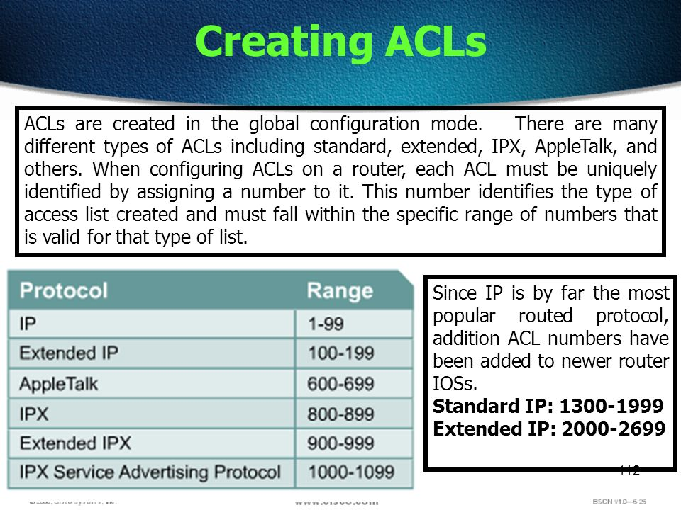 112 Creating ACLs ACLs are created in the global configuration mode. There are many different types of ACLs including standard, extended, IPX, AppleTa