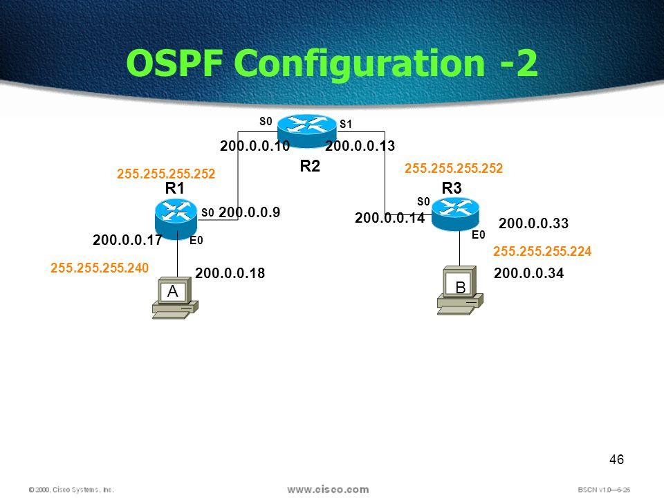 46 OSPF Configuration -2 R2 R1R3 S0 S1 E0 S0 E0 S0 200.0.0.17 200.0.0.9 200.0.0.10200.0.0.13 200.0.0.14 200.0.0.33 200.0.0.18200.0.0.34 255.255.255.240 255.255.255.252 255.255.255.224 A B