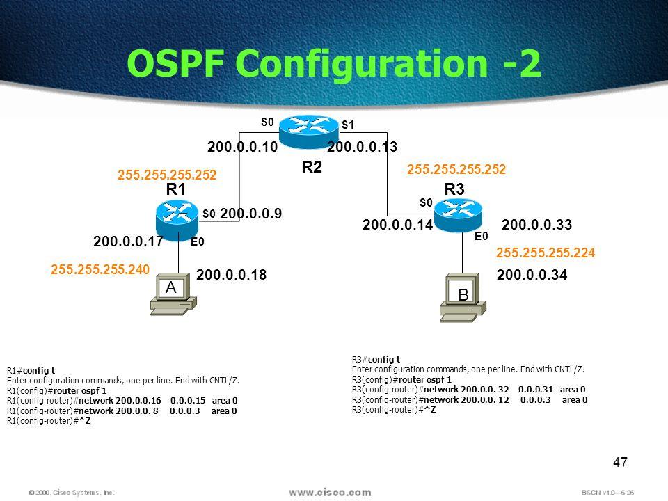 47 OSPF Configuration -2 R2 R1R3 S0 S1 E0 S0 E0 S0 200.0.0.17 200.0.0.9 200.0.0.10200.0.0.13 200.0.0.14200.0.0.33 200.0.0.18200.0.0.34 255.255.255.240 255.255.255.252 255.255.255.224 R1#config t Enter configuration commands, one per line.