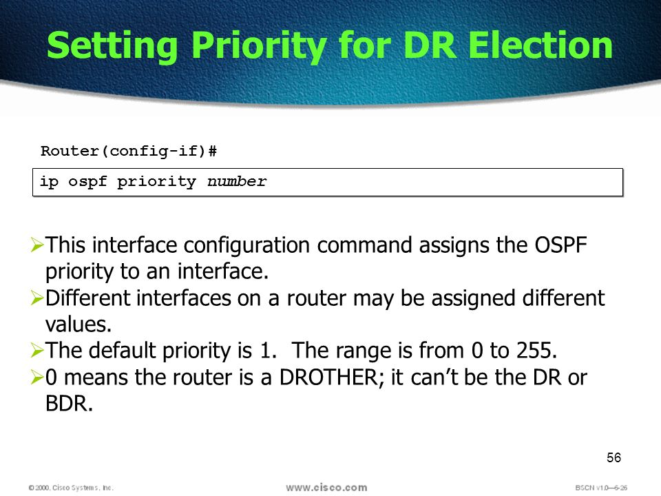 56 Setting Priority for DR Election ip ospf priority number This interface configuration command assigns the OSPF priority to an interface. Different