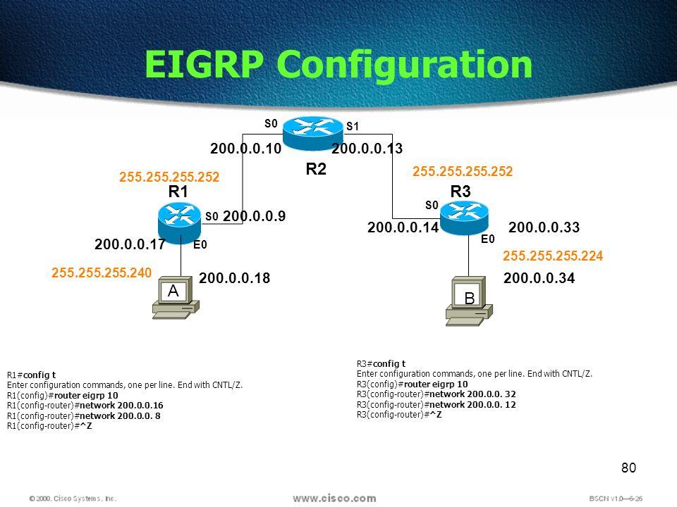 80 EIGRP Configuration R2 R1R3 S0 S1 E0 S0 E0 S0 200.0.0.17 200.0.0.9 200.0.0.10200.0.0.13 200.0.0.14200.0.0.33 200.0.0.18200.0.0.34 255.255.255.240 255.255.255.252 255.255.255.224 R1#config t Enter configuration commands, one per line.