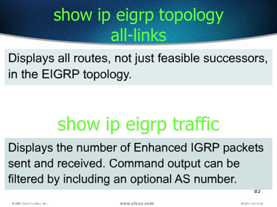 83 show ip eigrp topology all-links show ip eigrp traffic