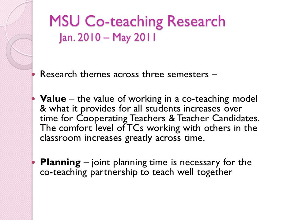 MSU Co-teaching Research Jan.