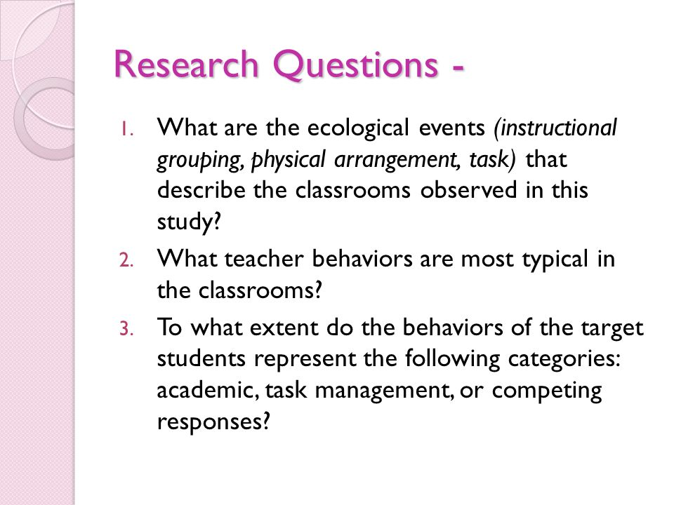 Research Questions - 1.