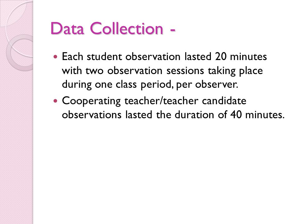 Data Collection - Each student observation lasted 20 minutes with two observation sessions taking place during one class period, per observer. Coopera