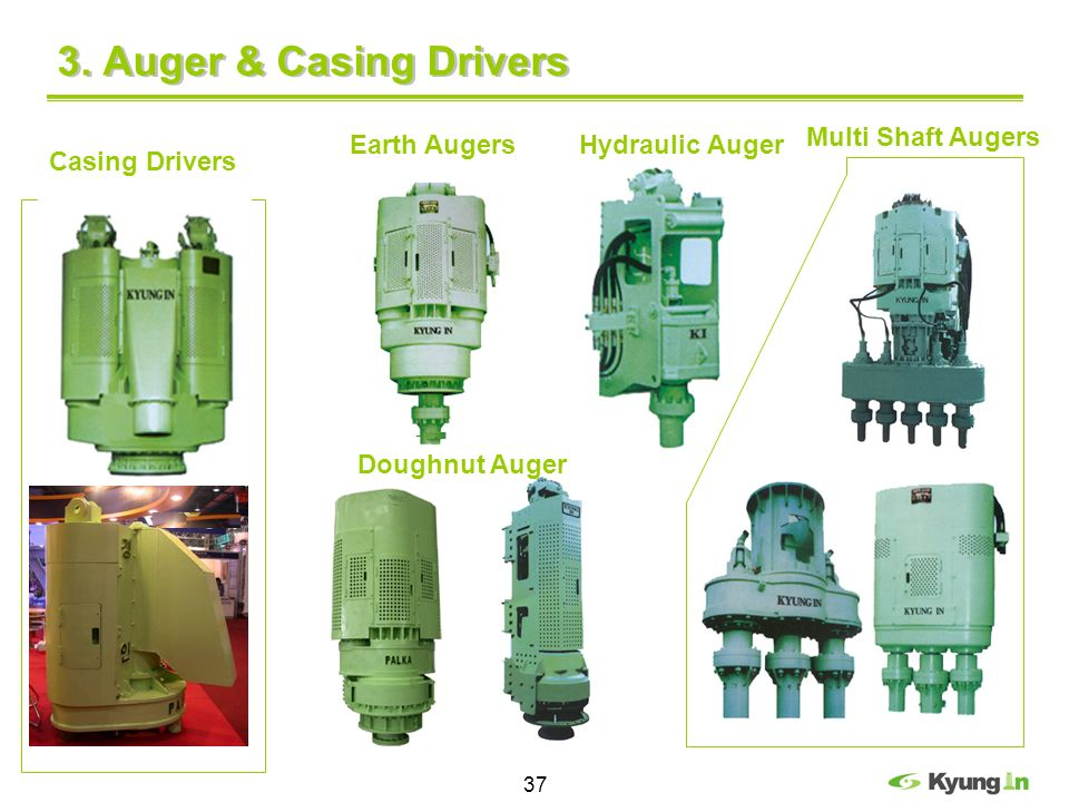 37 3. Auger & Casing Drivers Casing Drivers Earth Augers Hydraulic Auger Multi Shaft Augers Doughnut Auger