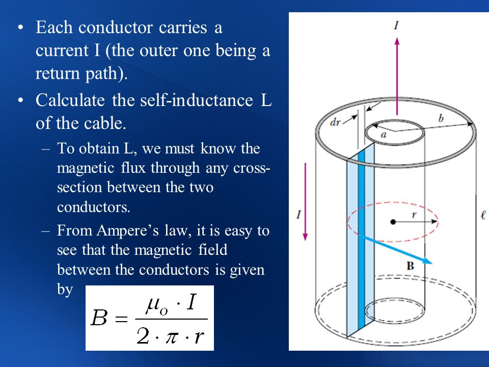 Each conductor carries a current I (the outer one being a return path). Calculate the self-inductance L of the cable. –To obtain L, we must know the m