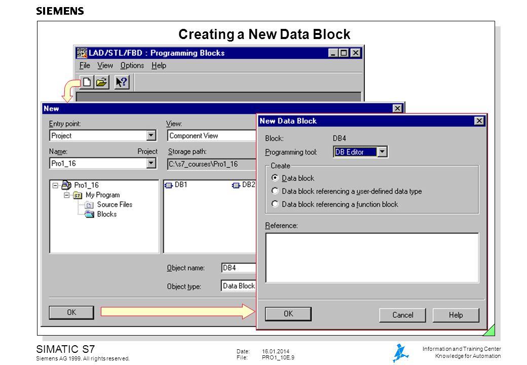 Date:16.01.2014 File:PRO1_10E.10 SIMATIC S7 Siemens AG 1999.