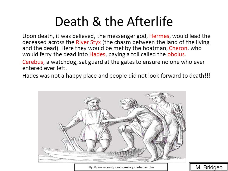 Death & the Afterlife Upon death, it was believed, the messenger god, Hermes, would lead the deceased across the River Styx (the chasm between the lan