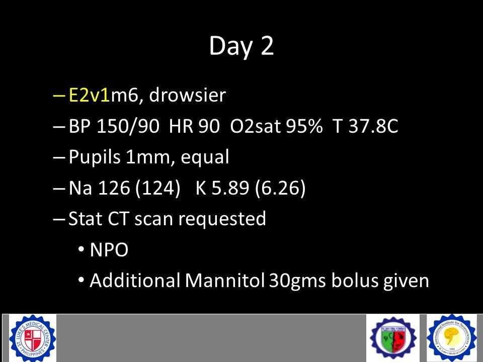 Day 2 Day 3 post ictus (830am) – E2v1m6, drowsier – BP 150/90 HR 90 O2sat 95% T 37.8C – Pupils 1mm, equal – Na 126 (124) K 5.89 (6.26) – Stat CT scan
