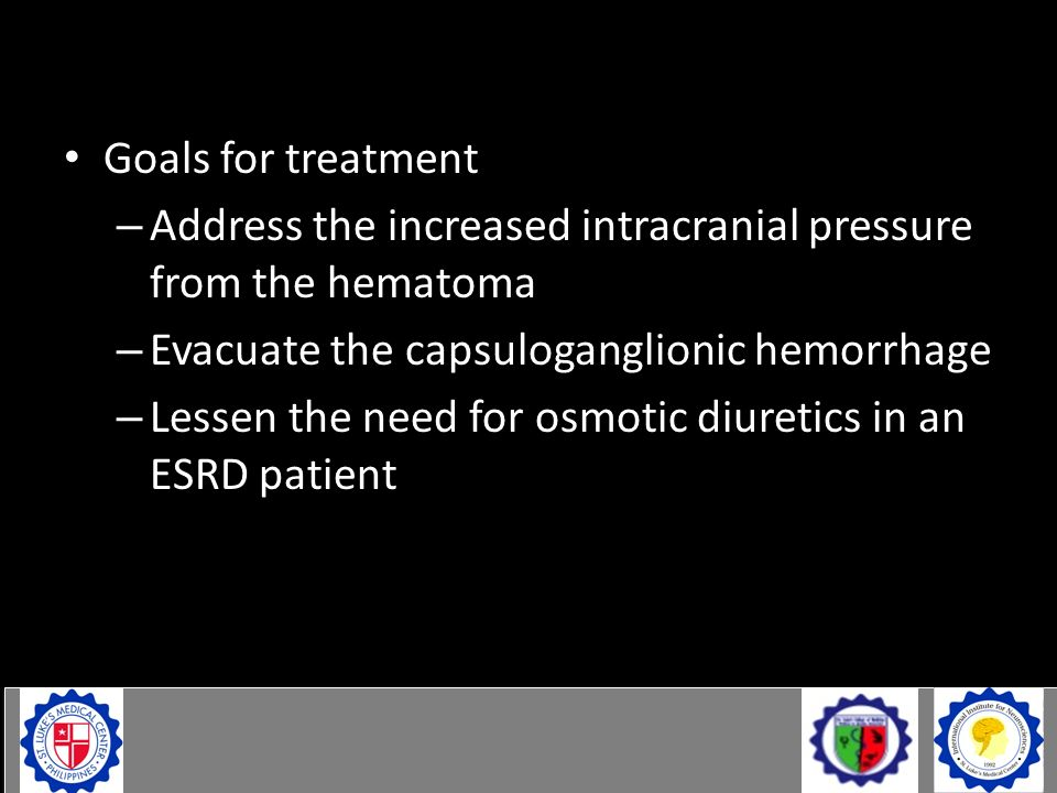 Case Goals for treatment – Address the increased intracranial pressure from the hematoma – Evacuate the capsuloganglionic hemorrhage – Lessen the need