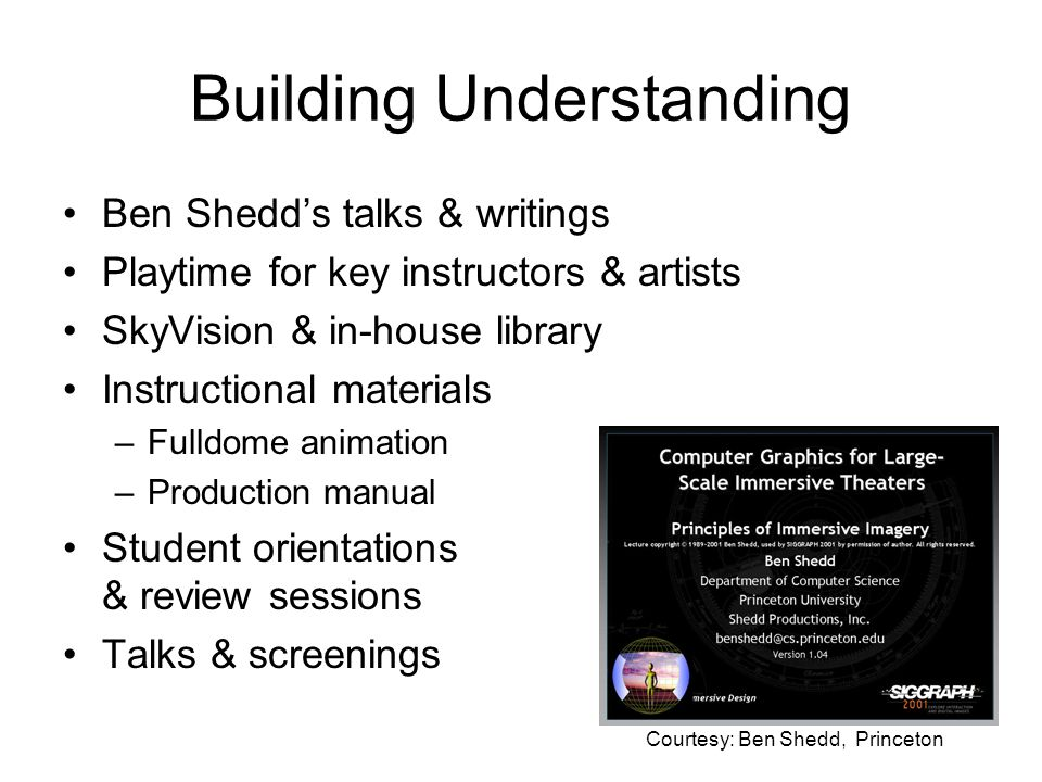 Building Understanding Ben Shedds talks & writings Playtime for key instructors & artists SkyVision & in-house library Instructional materials –Fulldome animation –Production manual Student orientations & review sessions Talks & screenings Courtesy: Ben Shedd, Princeton