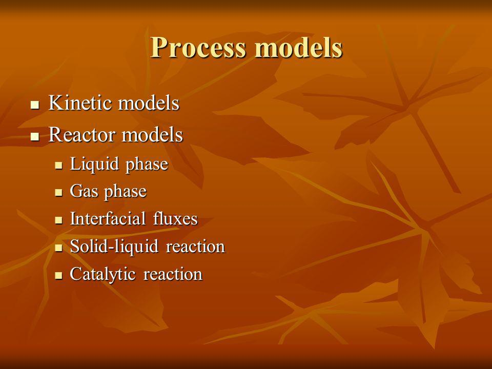 Process models Kinetic models Kinetic models Reactor models Reactor models Liquid phase Liquid phase Gas phase Gas phase Interfacial fluxes Interfacia
