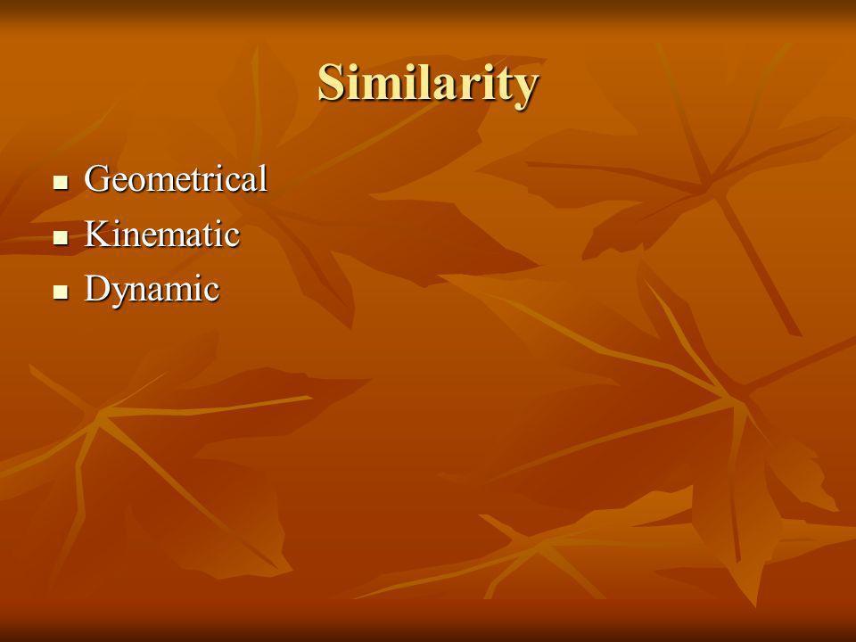 Similarity Geometrical Geometrical Kinematic Kinematic Dynamic Dynamic
