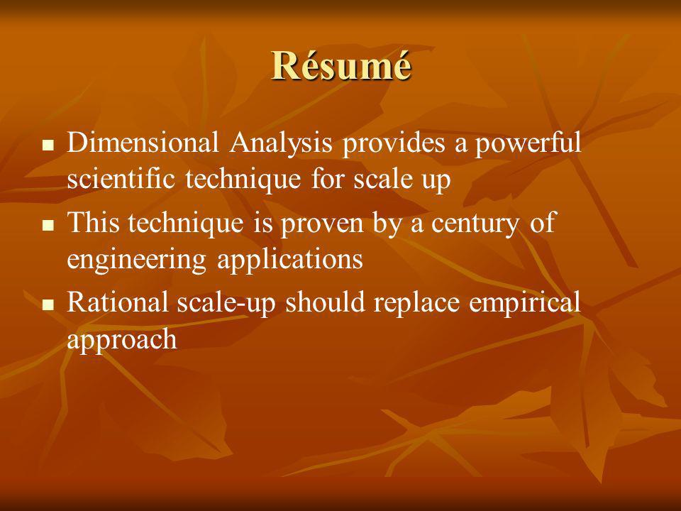Résumé Dimensional Analysis provides a powerful scientific technique for scale up This technique is proven by a century of engineering applications Ra