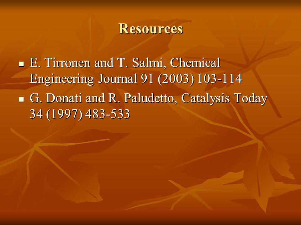 Resources E. Tirronen and T. Salmi, Chemical Engineering Journal 91 (2003) 103-114 E. Tirronen and T. Salmi, Chemical Engineering Journal 91 (2003) 10