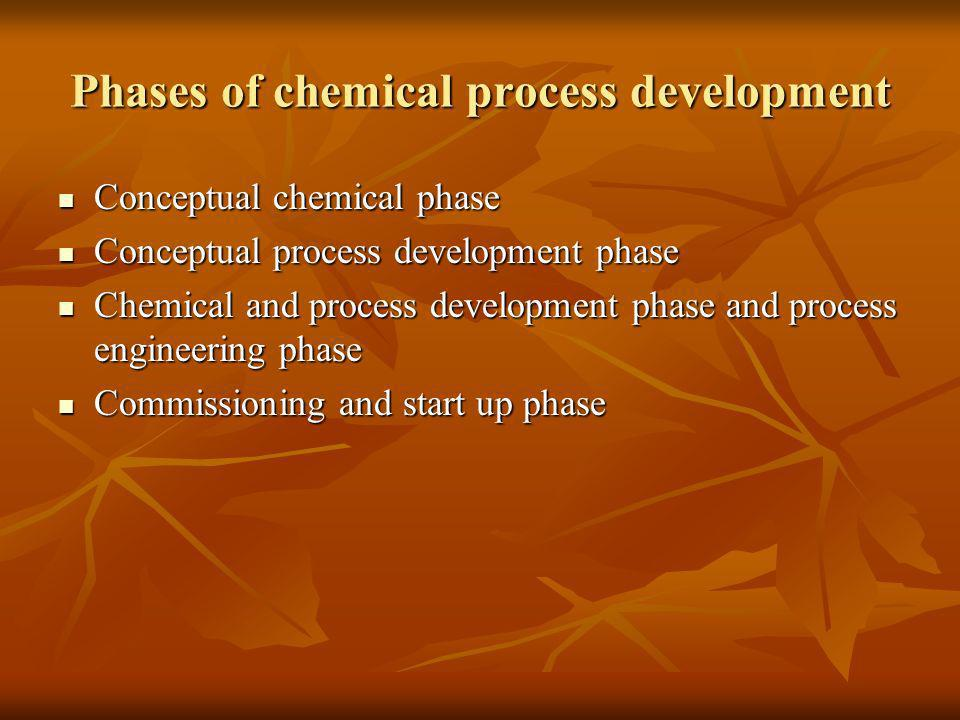 Phases of chemical process development Conceptual chemical phase Conceptual chemical phase Conceptual process development phase Conceptual process dev