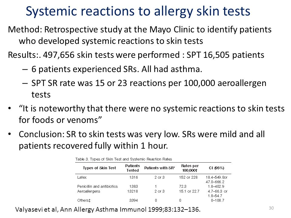 30 Method: Retrospective study at the Mayo Clinic to identify patients who developed systemic reactions to skin tests Results:. 497,656 skin tests wer