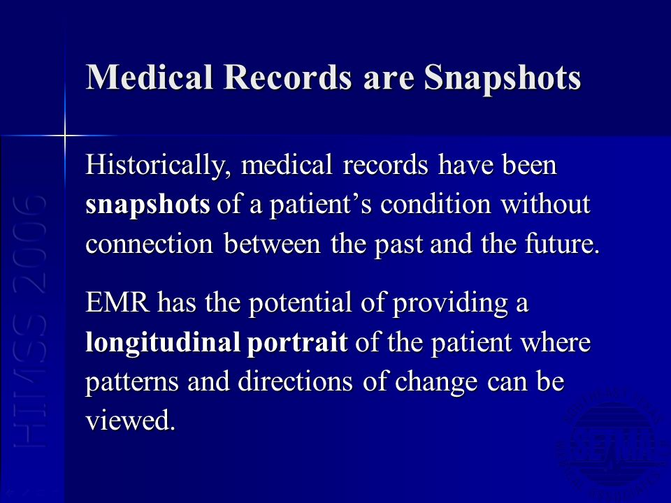 Medical Records are Snapshots Historically, medical records have been snapshots of a patients condition without connection between the past and the future.