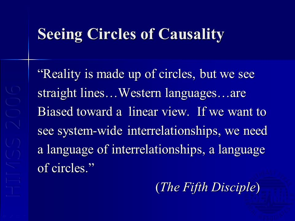 Seeing Circles of Causality Reality is made up of circles, but we see straight lines…Western languages…are Biased toward a linear view. If we want to
