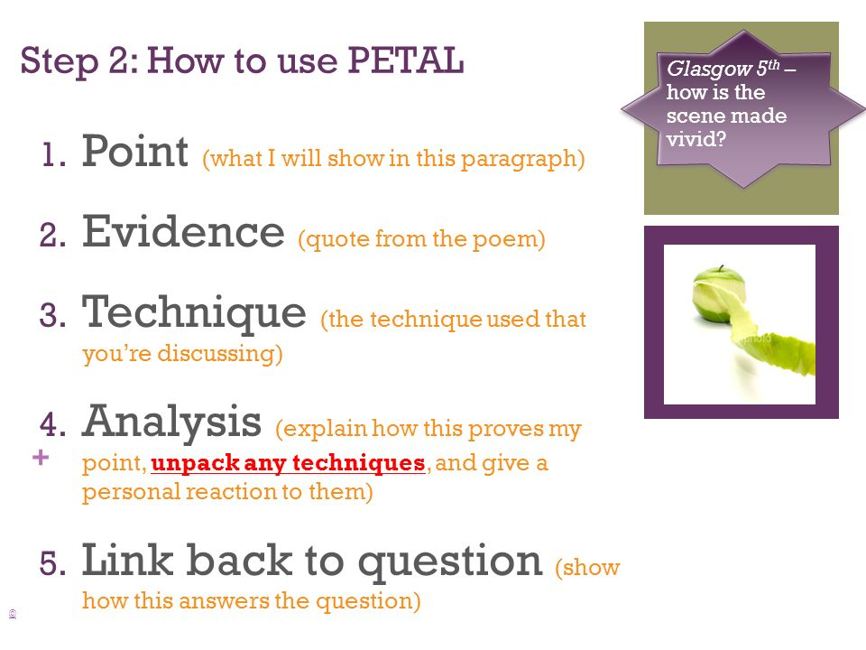 + Step 2: How to use PETAL © Glasgow 5 th – how is the scene made vivid.