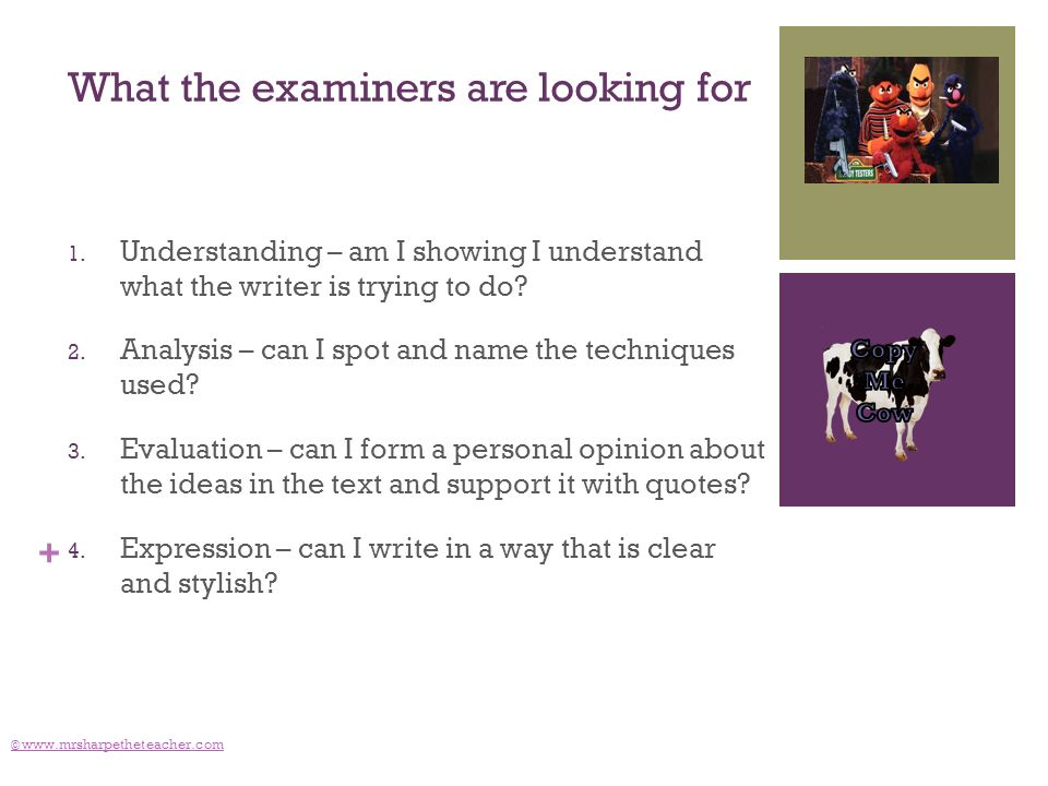 + What the examiners are looking for 1. Understanding – am I showing I understand what the writer is trying to do? 2. Analysis – can I spot and name t