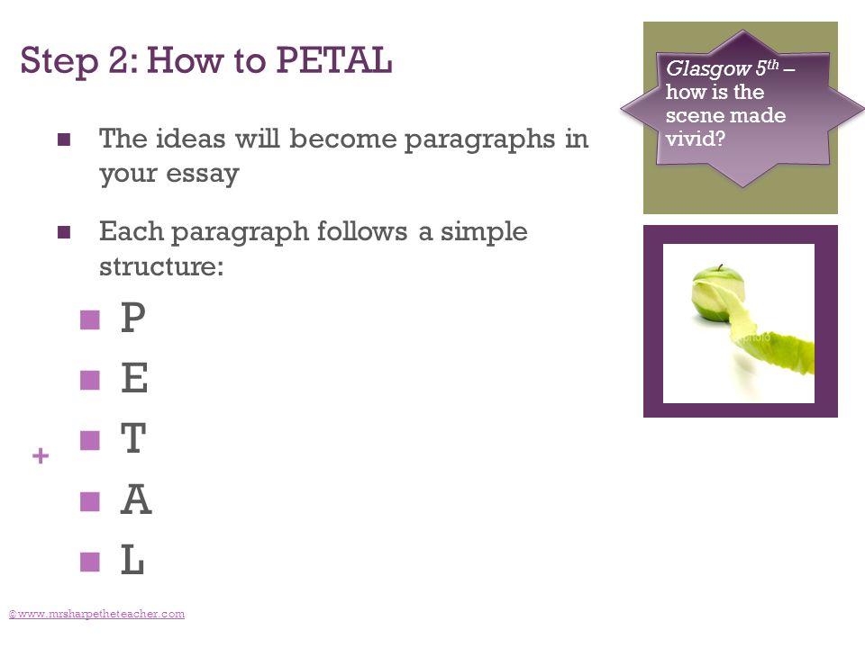 + Step 2: How to PETAL © www.mrsharpetheteacher.com Glasgow 5 th – how is the scene made vivid.