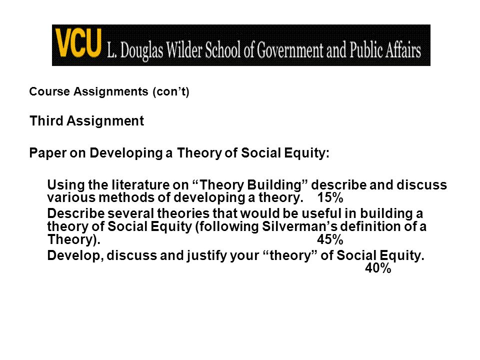 Course Assignments (cont) Third Assignment Paper on Developing a Theory of Social Equity: Using the literature on Theory Building describe and discuss various methods of developing a theory.15% Describe several theories that would be useful in building a theory of Social Equity (following Silvermans definition of a Theory).45% Develop, discuss and justify your theory of Social Equity.