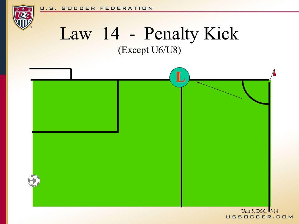 L Law 14 - Penalty Kick (Except U6/U8) Unit 5, DSC, V-14