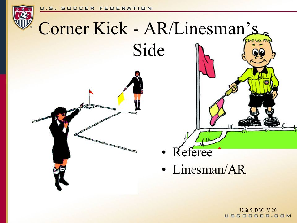 Corner Kick - AR/Linesmans Side Referee Linesman/AR Unit 5, DSC, V-20