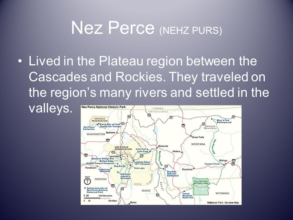 Nez Perce (NEHZ PURS) Lived in the Plateau region between the Cascades and Rockies. They traveled on the regions many rivers and settled in the valley