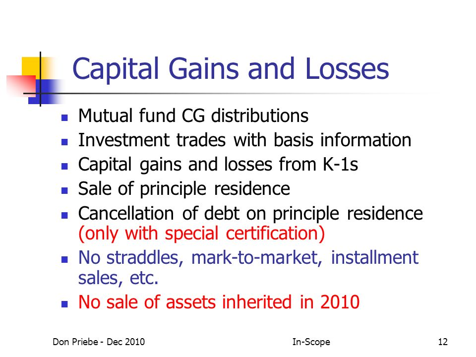 Don Priebe - Dec 2010In-Scope12 Capital Gains and Losses Mutual fund CG distributions Investment trades with basis information Capital gains and losses from K-1s Sale of principle residence Cancellation of debt on principle residence (only with special certification) No straddles, mark-to-market, installment sales, etc.