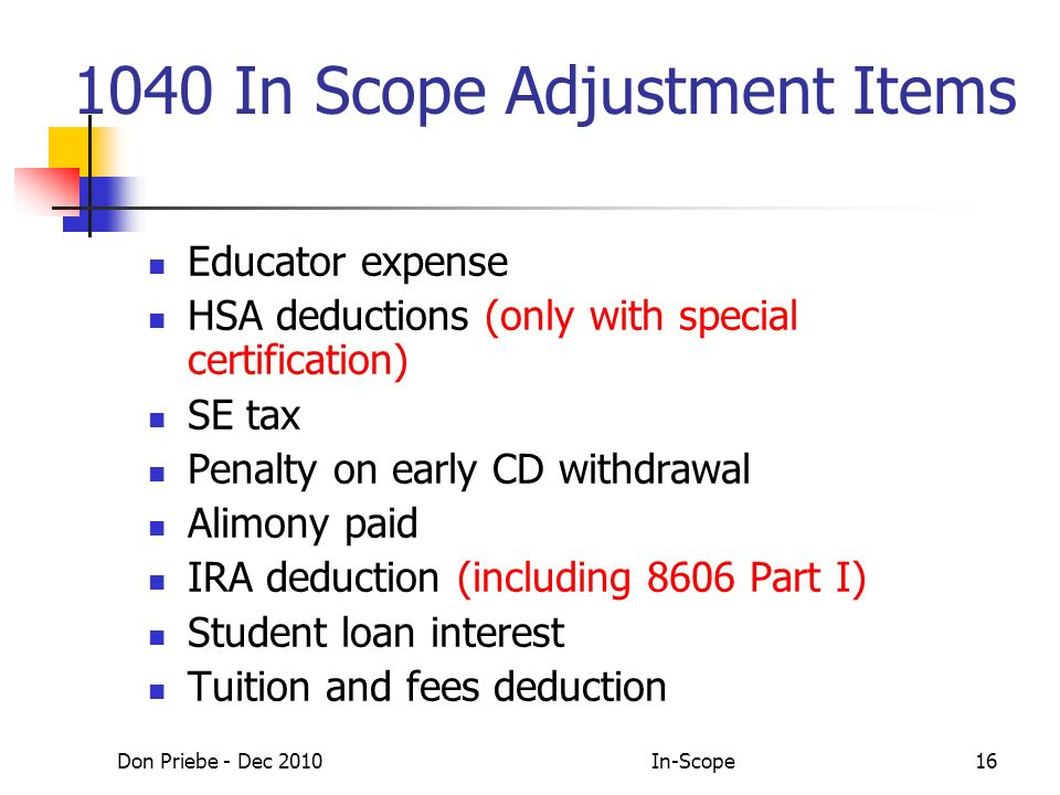 Don Priebe - Dec 2010In-Scope16 1040 In Scope Adjustment Items Educator expense HSA deductions (only with special certification) SE tax Penalty on early CD withdrawal Alimony paid IRA deduction (including 8606 Part I) Student loan interest Tuition and fees deduction