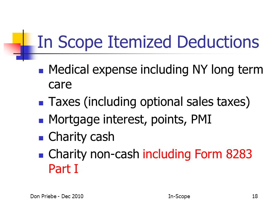 Don Priebe - Dec 2010In-Scope18 In Scope Itemized Deductions Medical expense including NY long term care Taxes (including optional sales taxes) Mortgage interest, points, PMI Charity cash Charity non-cash including Form 8283 Part I