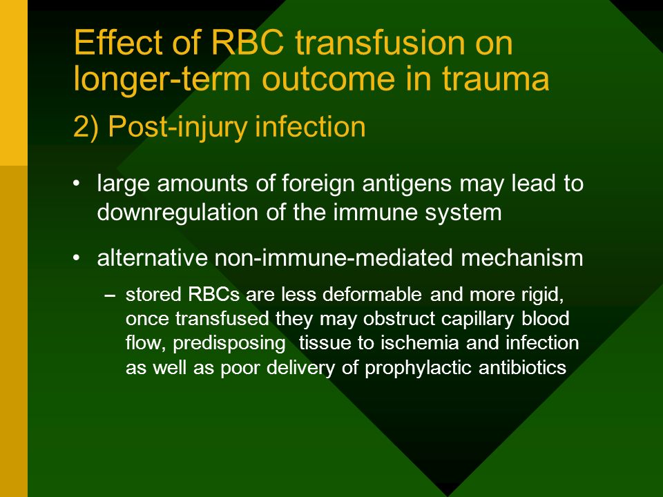 Effect of RBC transfusion on longer-term outcome in trauma 2) Post-injury infection large amounts of foreign antigens may lead to downregulation of th
