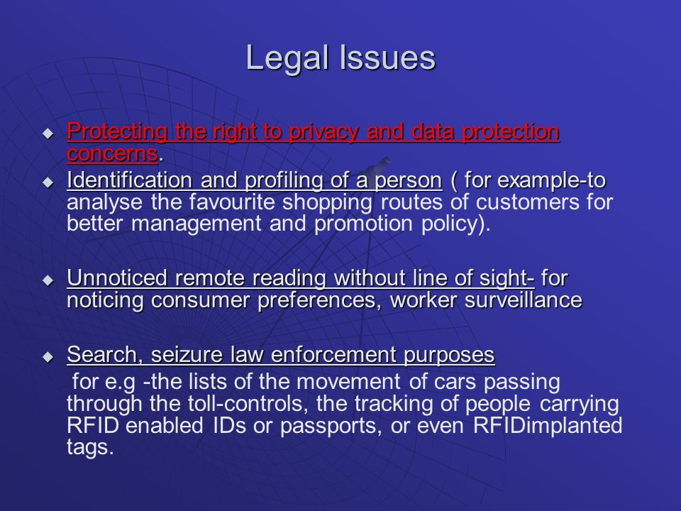 Legal Issues Protecting the right to privacy and data protection concerns.