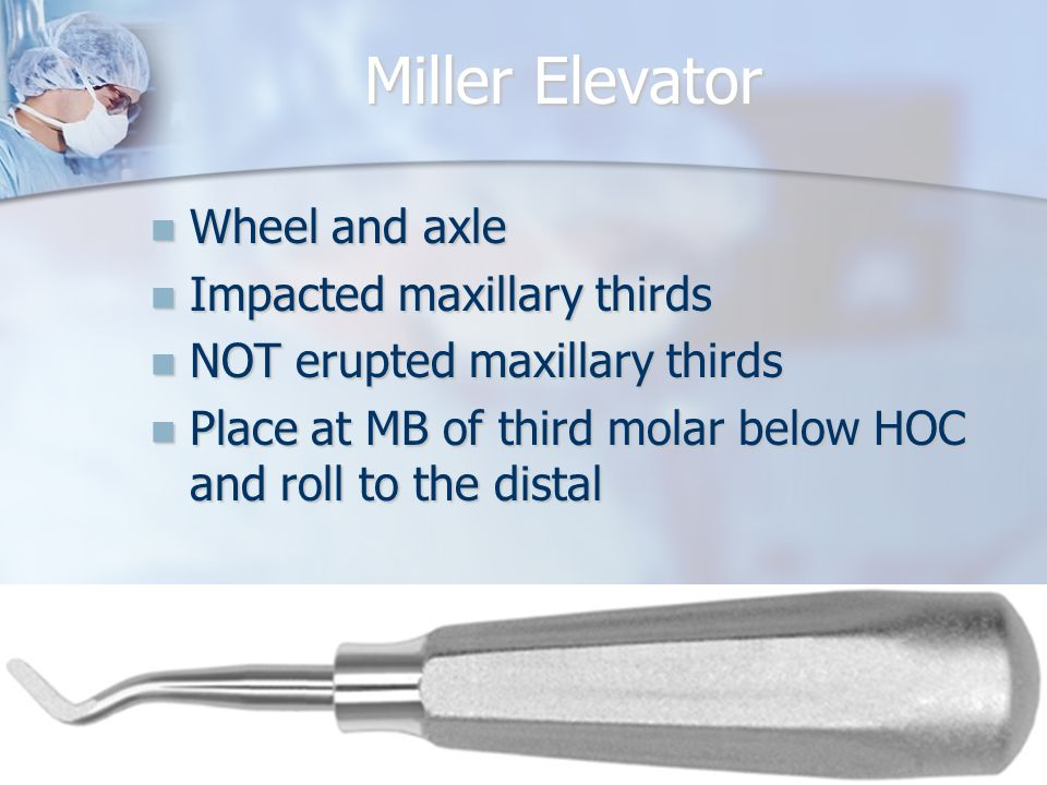 Miller Elevator Wheel and axle Wheel and axle Impacted maxillary thirds Impacted maxillary thirds NOT erupted maxillary thirds NOT erupted maxillary t