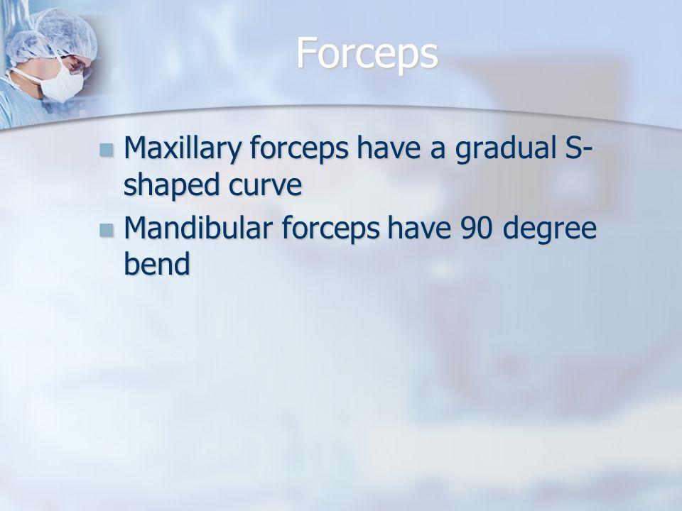 Forceps Maxillary forceps have a gradual S- shaped curve Maxillary forceps have a gradual S- shaped curve Mandibular forceps have 90 degree bend Mandi