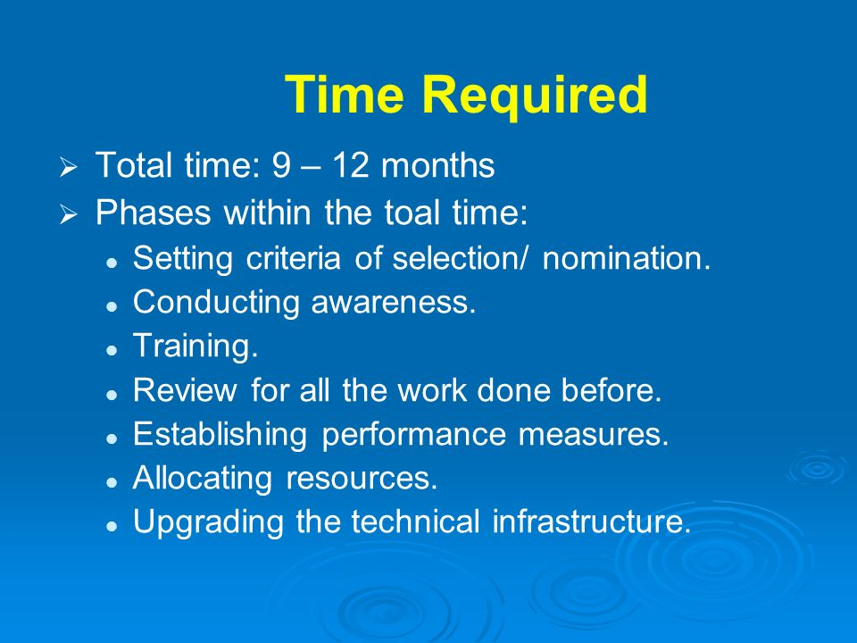 Time Required Total time: 9 – 12 months Phases within the toal time: Setting criteria of selection/ nomination. Conducting awareness. Training. Review