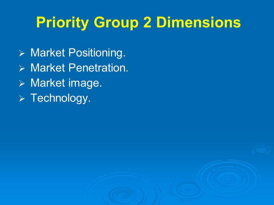 Priority Group 2 Dimensions Market Positioning. Market Penetration. Market image. Technology.