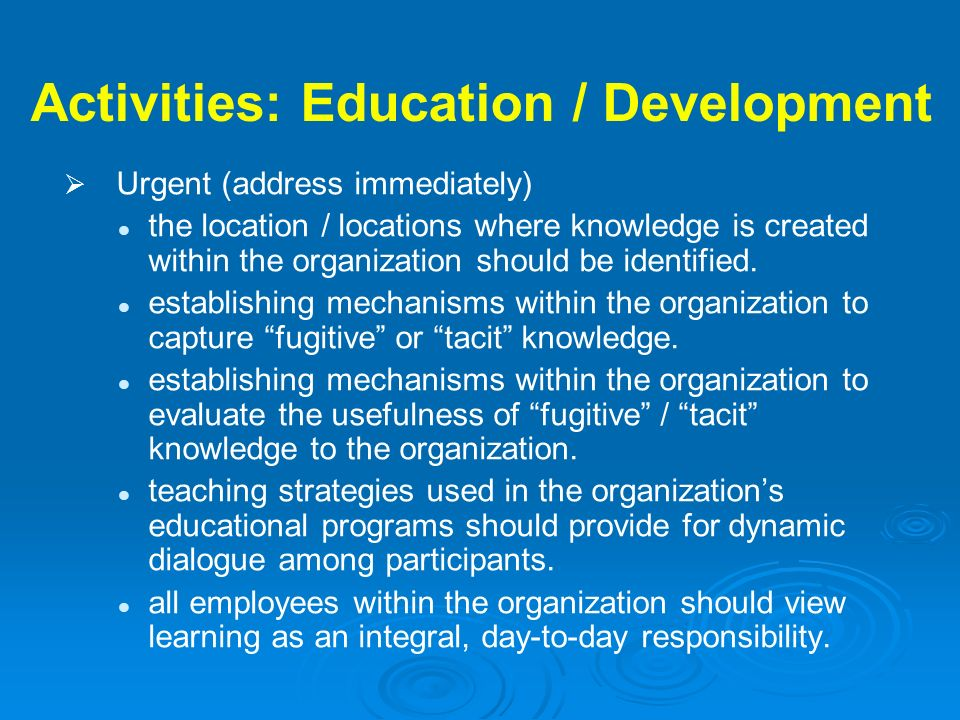 Activities: Education / Development Urgent (address immediately) the location / locations where knowledge is created within the organization should be
