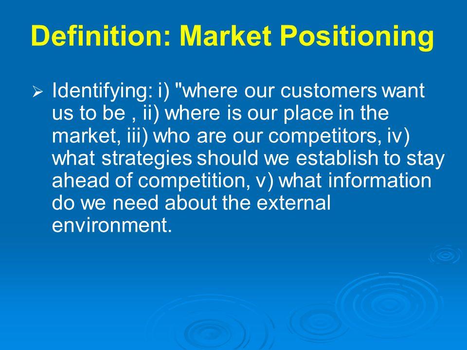 Definition: Market Positioning Identifying: i)