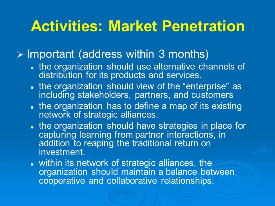 Activities: Market Penetration Important (address within 3 months) the organization should use alternative channels of distribution for its products a