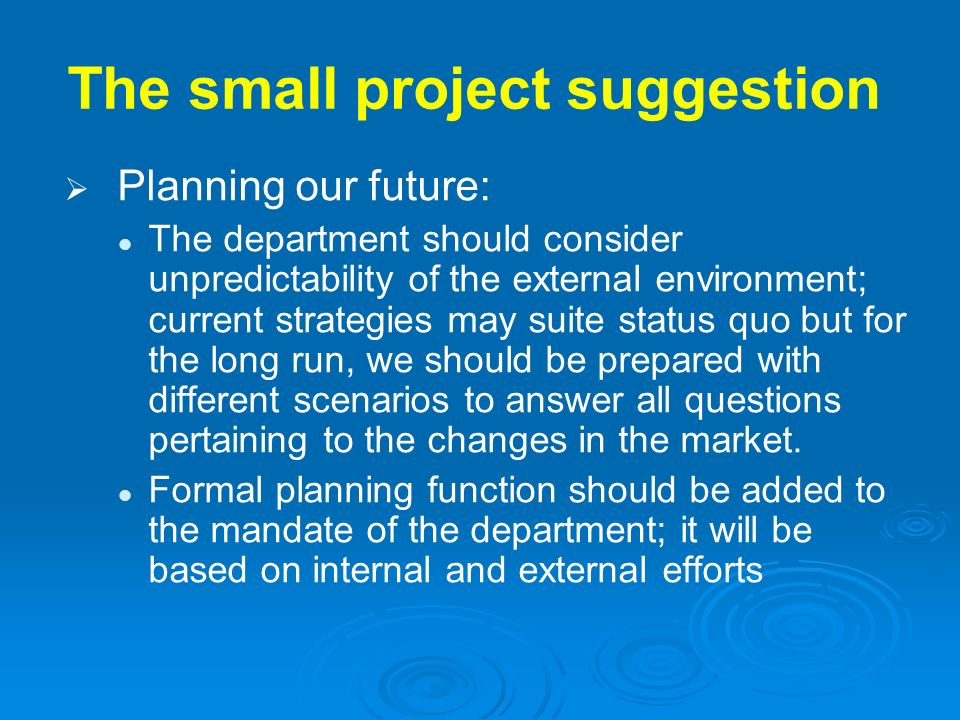 The small project suggestion Planning our future: The department should consider unpredictability of the external environment; current strategies may
