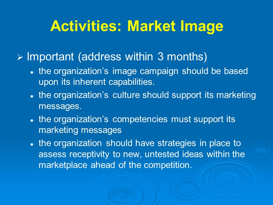 Activities: Market Image Important (address within 3 months) the organizations image campaign should be based upon its inherent capabilities. the orga
