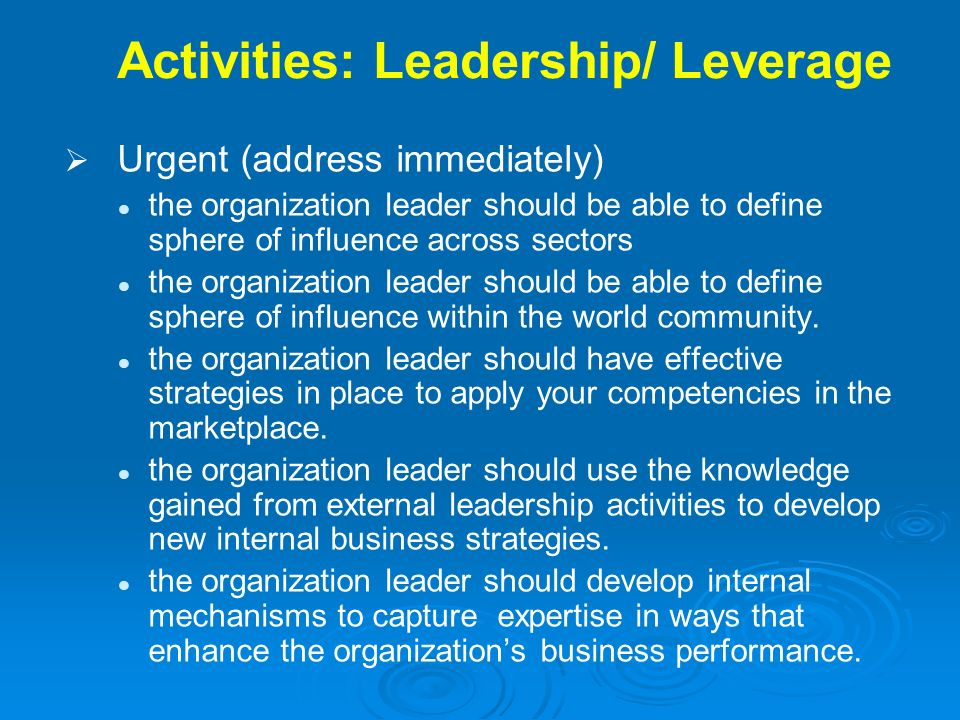 Activities: Leadership/ Leverage Urgent (address immediately) the organization leader should be able to define sphere of influence across sectors the