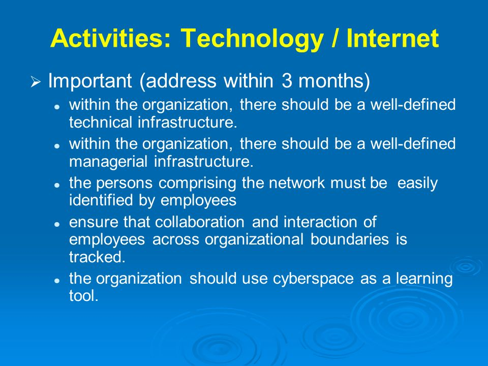 Activities: Technology / Internet Important (address within 3 months) within the organization, there should be a well-defined technical infrastructure