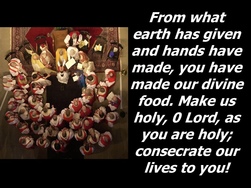 From what earth has given and hands have made, you have made our divine food. Make us holy, 0 Lord, as you are holy; consecrate our lives to you!