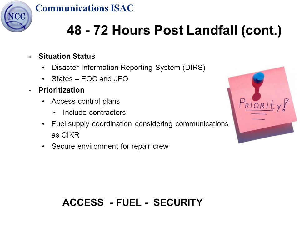 Communications ISAC 48 - 72 Hours Post Landfall (cont.) Situation Status Disaster Information Reporting System (DIRS) States – EOC and JFO Prioritizat